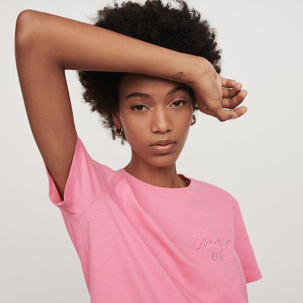 마쥬 티셔츠 MAJE 119 TABY Kurzarmeliges T-Shirt mit Stickerei ,Rosa