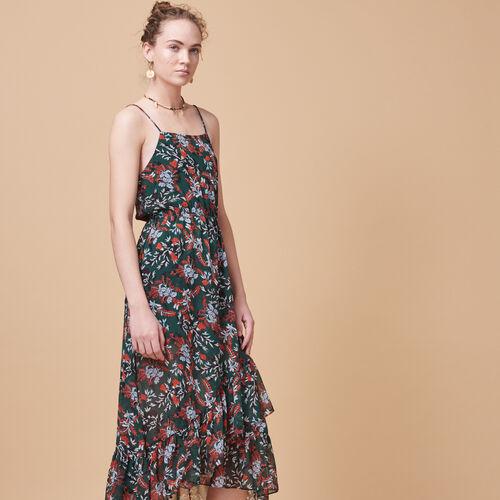 Langes Kleid aus bedrucktem Musselin - Kleider - MAJE
