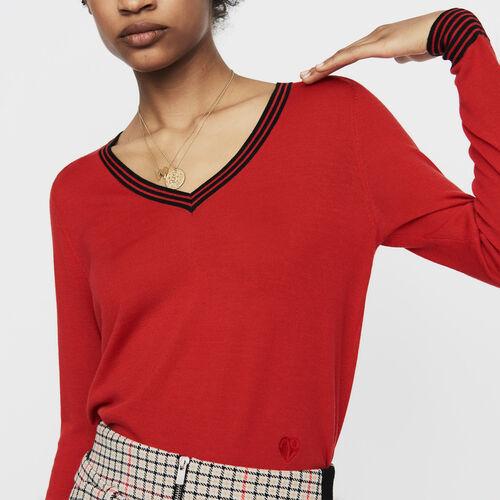 [50% SALE] 18 F/W 마쥬 스웨터 MAJE MERINO Feiner Pullover aus Merinowolle - Strickwaren,Rot