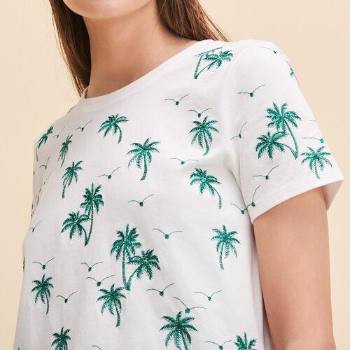 T-Shirt mit aufgestickten Palmen - Tops - MAJE