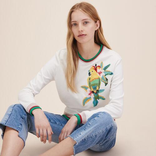 Sweatshirt mit übergroßer Stickerei - Strickwaren - MAJE