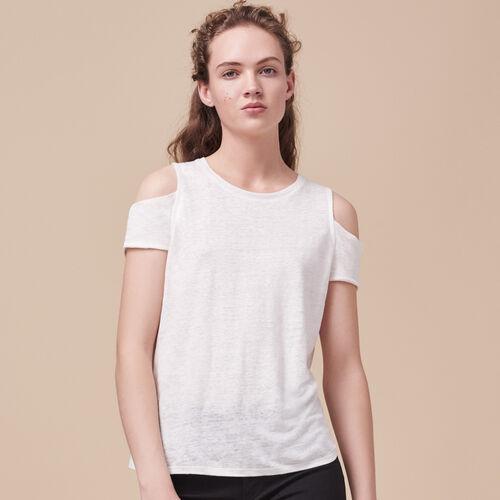 T-Shirt aus Leinen mit freien Schultern - Tops - MAJE