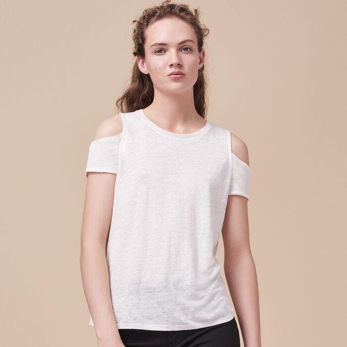 T-Shirt aus Leinen mit freien Schultern - Modern Safari - MAJE
