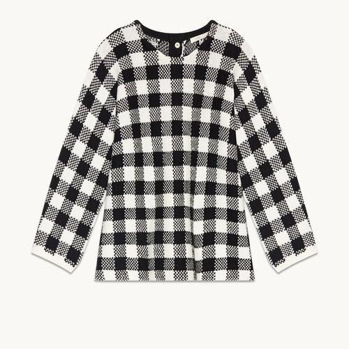 Kurzer Pullover aus Vichy-Jacquard - Strickwaren - MAJE