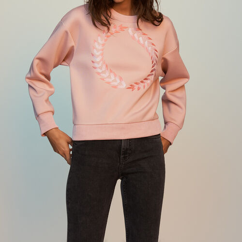 [50% SALE] 18 F/W 마쥬 TORNADE 자수 장식 스웻셔츠 핑크 MAJE TORNADE Fleece-Sweatshirt mit Stickereien - Sweatshirts, PECHE
