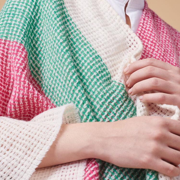 Gestreifter Poncho aus einem Wollmix - Schals & Rundschals - MAJE