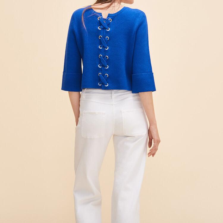 Kurzer Pullover aus maschenfestem Strick - Strickwaren - MAJE