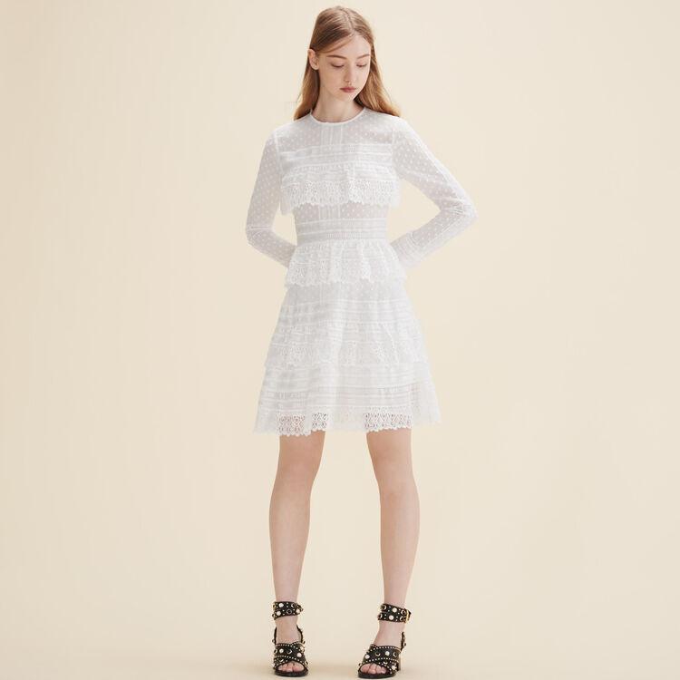 Besticktes Kleid mit Volants - Kleider - MAJE