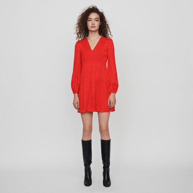 마쥬 원피스 MAJE 119RIMINE Gesmoktes Kleid aus Satin Jacquard - Rot