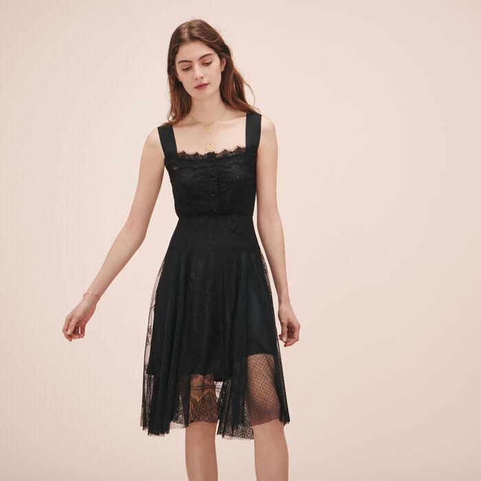 Langes Kleid aus Spitze und Plumetis - Kleider - MAJE