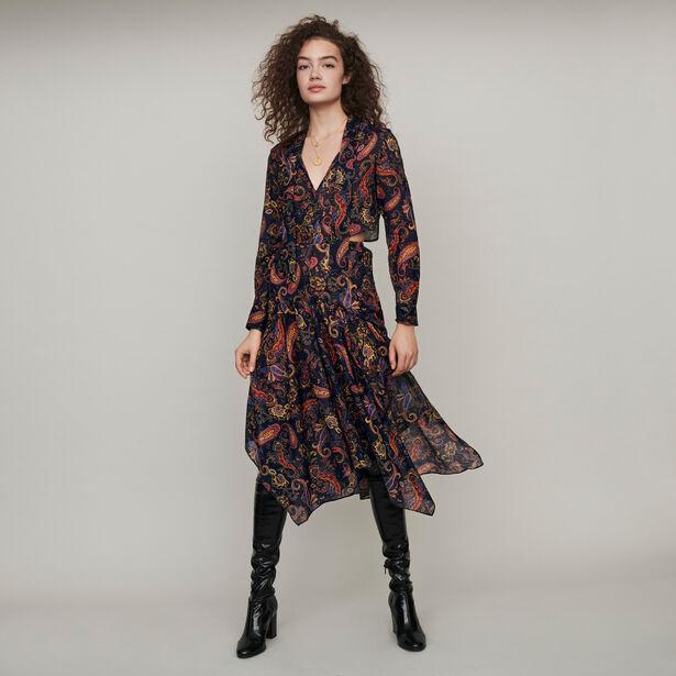 마쥬 원피스 MAJE 119RISTA Baumwoll Foulard Kleid mit Print - Marineblau
