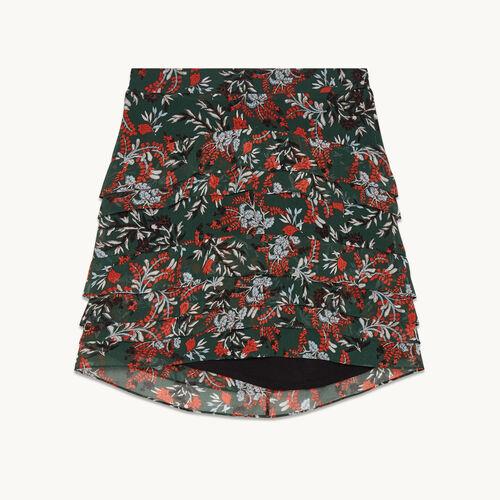 Kurzer, asymmetrischer Rock mit Print - Röcke & Shorts - MAJE