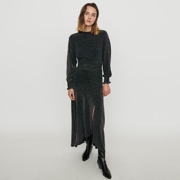 마쥬 원피스 MAJE 119RIO Stretch Foulard Kleid aus Lurex - Mehrfarbigen