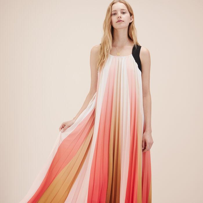 Langes mehrfarbiges Plisseekleid -  - MAJE