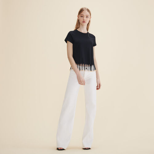 T-Shirt mit Perlenfransen - Tops - MAJE