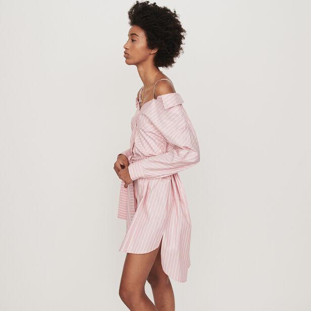 마쥬 원피스 MAJE 119RIAMI Oversize Hemdkleid mit Streifen - Rosa
