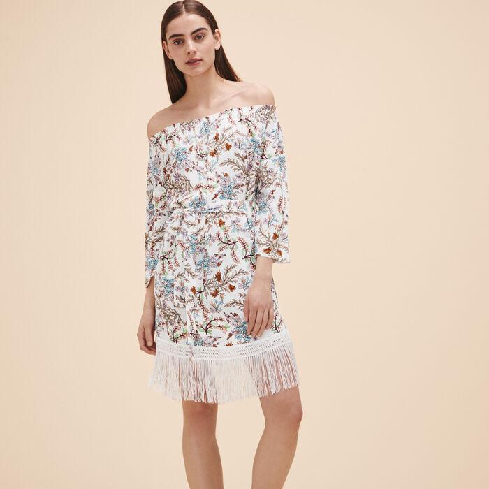 Bedrucktes Kleid mit Fransen -  - MAJE