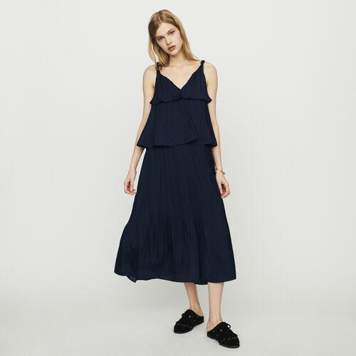 마쥬 ROCKANIL 롱 주름 원피스 네이비 MAJE ROCKANIL Langes Plissee Kleid aus Seide - Marineblau