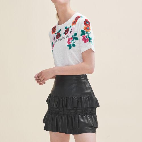 Rock aus Leder mit Rüschen - Röcke & Shorts - MAJE