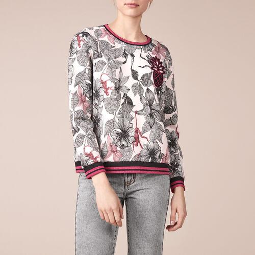 Sweatshirt aus bedruckter Baumwolle - Strickwaren - MAJE