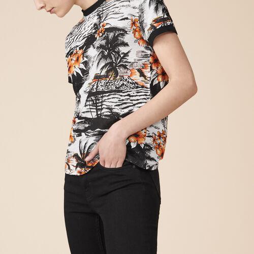 T-Shirt aus Leinen mit Aufdruck - Tops - MAJE