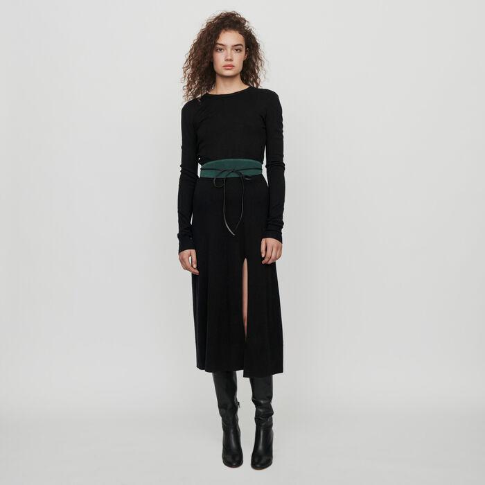 Wendbares Strick Kleid : Kleider farbe Schwarz