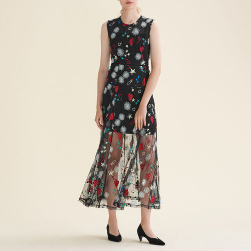 Langes Kleid mit All-over-Stickerei : Kleider farbe Jacquard