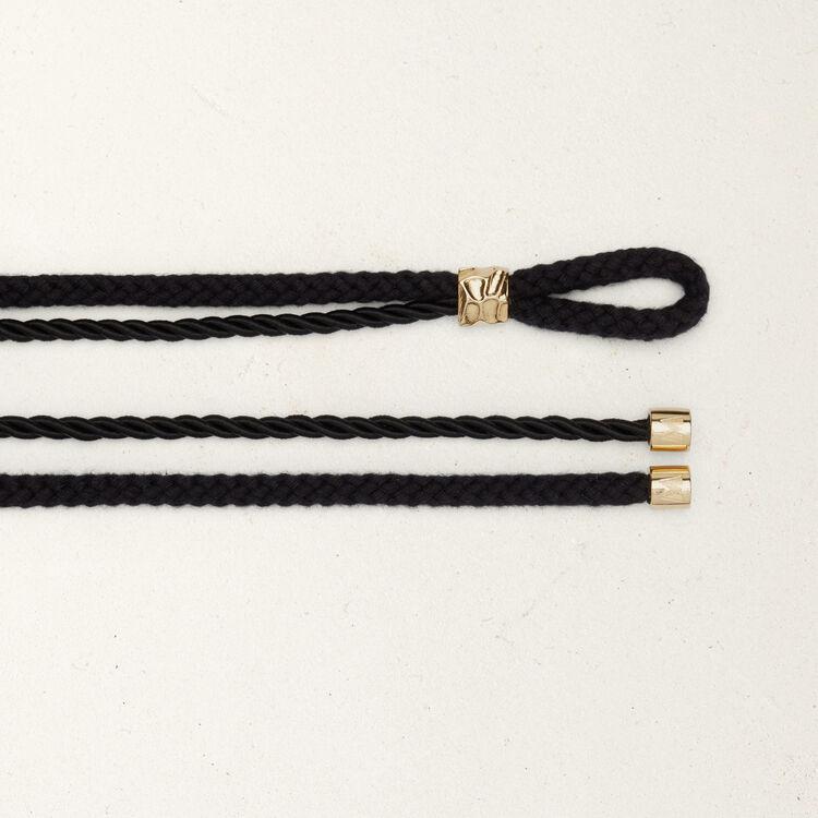 Kordel Gürtel mit eingearbeiteten Studs : Gürtel farbe Schwarz