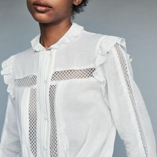 Baumwollbluse mit Spitze : Bekleidung farbe Weiss