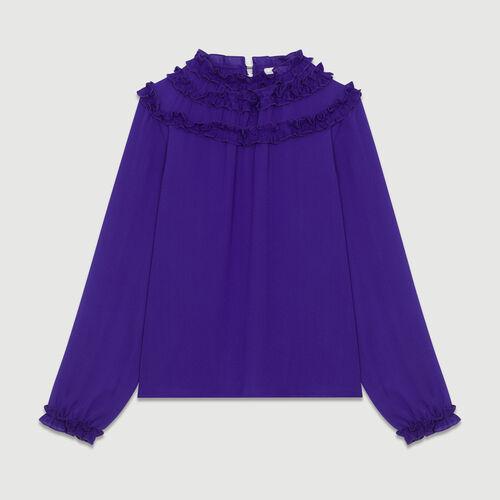 Krepp-Top mit Volants : Tops farbe Violett