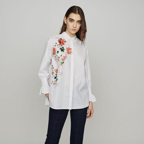 Bedruckte Bluse mit Blumen-Print : Hemden farbe Weiss