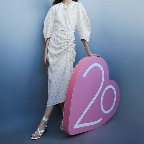 Gestreiftes Kleid mit Puffärmeln : Twisted stripes farbe Ecru