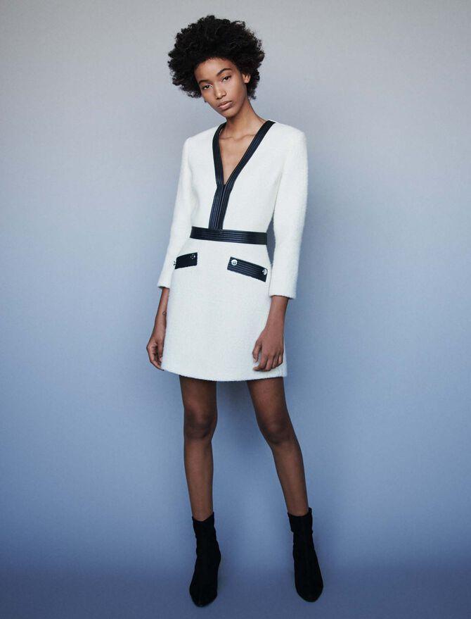 Kleid mit konstrastierendem Tweed-Effekt -  - MAJE