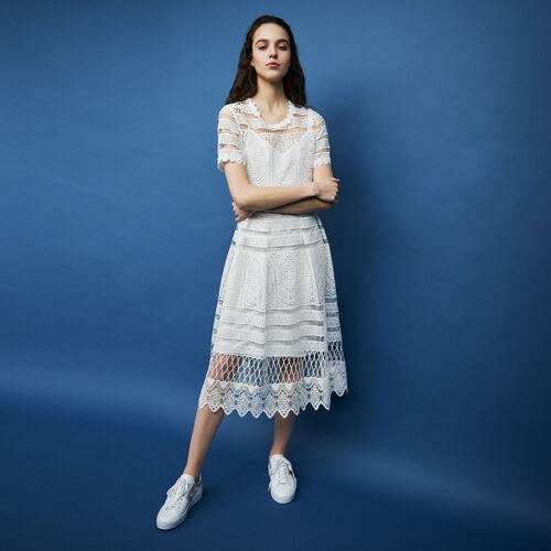 Langes Spitzenkleid : Kleider farbe ECRU