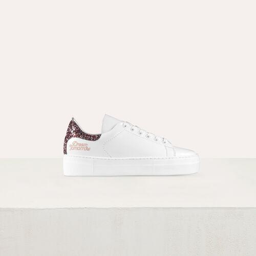 Leder-Sneakers mit Pailletten : Schuhe farbe Weiss