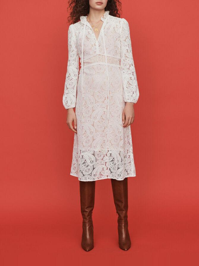 Guipure Kleid mit Kaschmir Motiven - Presoldes-50_BE - MAJE