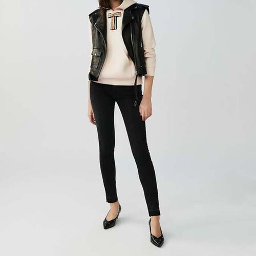 Ärmellose Lederjacke : Jacken farbe Schwarz