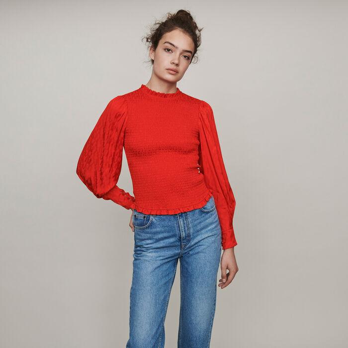 Gesmoktes Top mit Jacquard Satin : Tops & Hemden farbe Rot