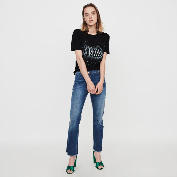 T-Shirt mit Serigraphie und Strass : T-Shirts farbe Schwarz