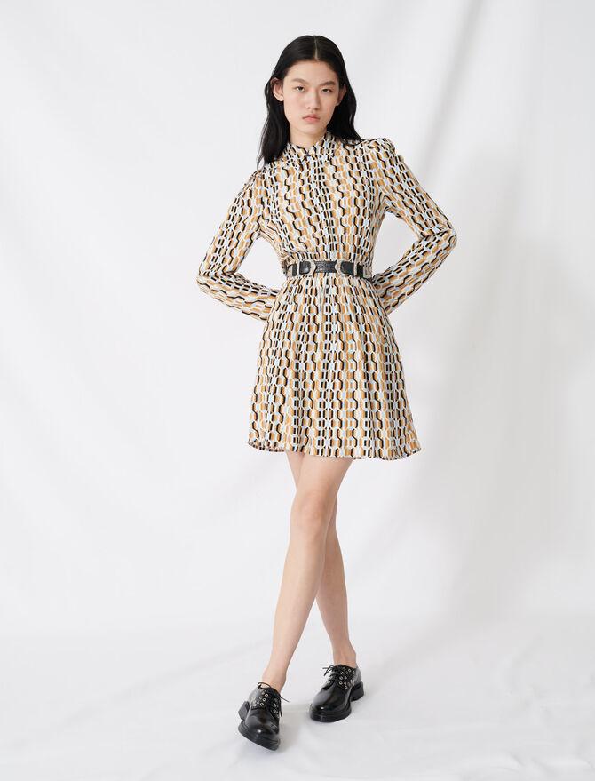 Kreppkleid mit Print und Smokdetail - Kleider - MAJE