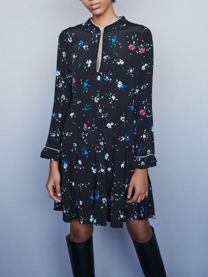 Krepp Kleid mit Paspel Print -  - MAJE
