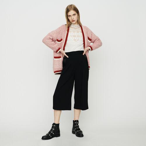 Cardigan aus dreifarbiger Wolle : Strickwaren farbe Rot