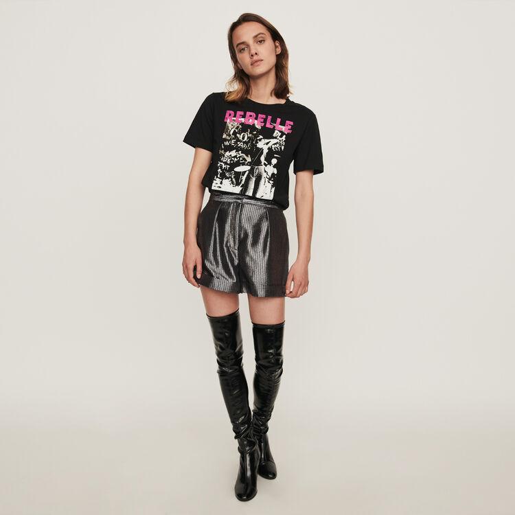 Shorts aus Lurex mit Revers : Röcke & Shorts farbe Silber