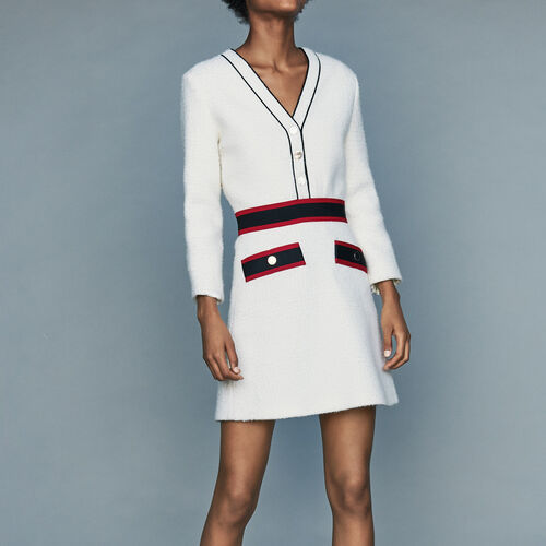 Kurzes Tweed-Kleid : Tartan farbe Ecru