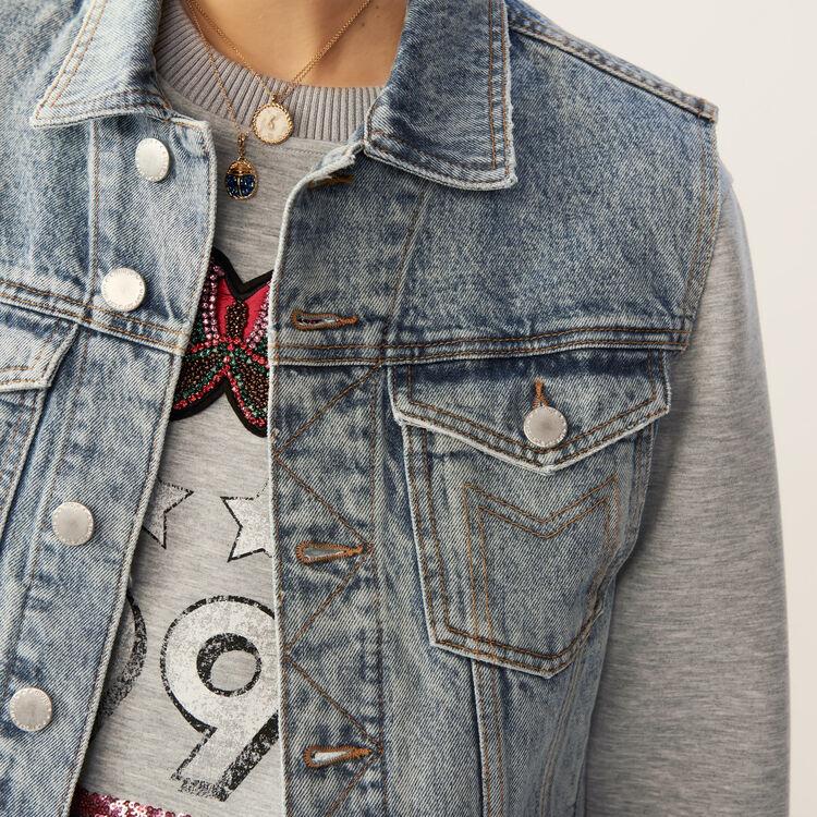 Ärmellose Jeansjacke : Le denim farbe Blau