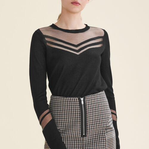 Pullover aus feinem Materialmix : T-shirts farbe Schwarz