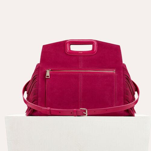 Schultertasche aus Veloursleder : Bags farbe Himbeerrot