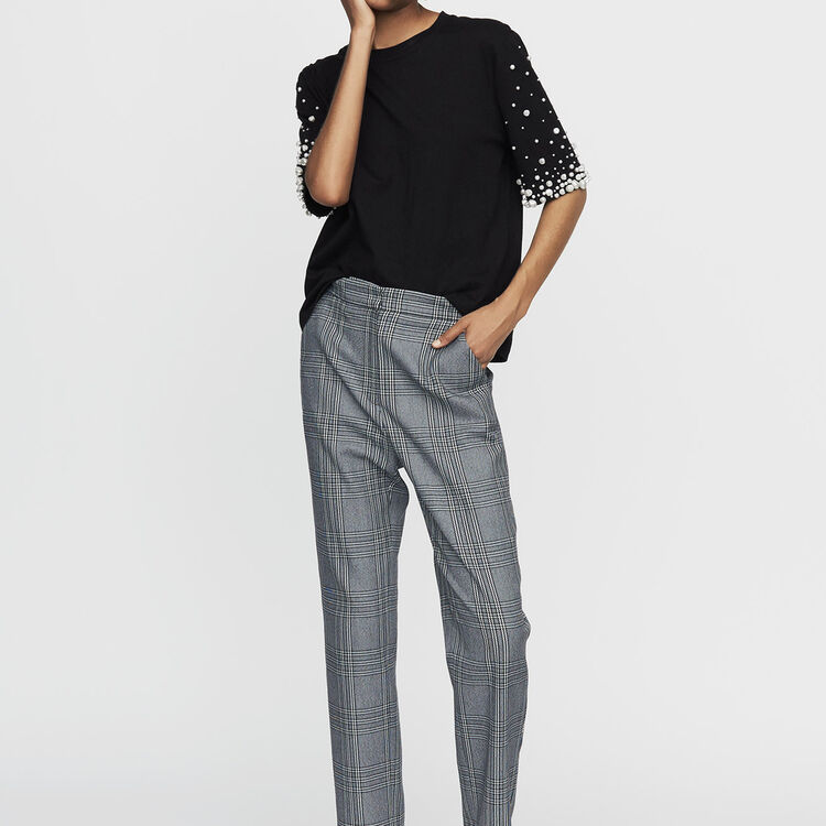 Baumwoll-T-Shirt mit Perlen : T-Shirts farbe Schwarz