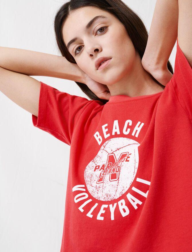 Kurzes rotes T-Shirt mit Siebdruck - T-Shirts - MAJE