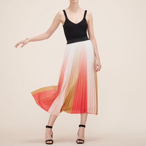 Plissierter langer Rock : Röcke und Shorts farbe Print